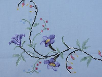 """Vintage Hand Embroidered Tablecloth Counted Cross Stitch 31"""" x 32"""""""