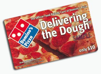 """Domino's Pizza fundraising card from their """"Delivering The Dough"""" program. After all, who doesn't want some free pizza?"""