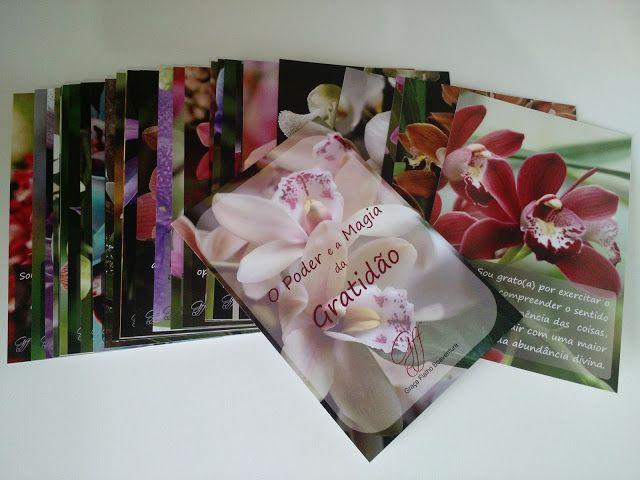 """32 Cards """"O Poder e a magia da Gratidão"""" é um conjunto com imagens de belas orquídeas e mensagens diárias de gratidão. Criação de Graça Fialho Boaventura  www.gracafloralfialho.com.br"""