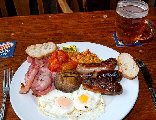 A classic British breakfast... with beer.  Just looking at it sends me into a food coma.  A delicious, delicious food coma. #breakfast
