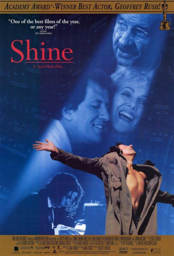 """Shine 1996 Movie Poster - """"Australian film with Geoffrey Rush and Noah Taylor about the life of pianist David Helfgott, who suffered a mental breakdown and spent years in institutions (Wikipedia)"""" - moving and brilliantly acted"""