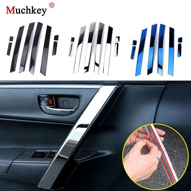 8pcs Car Accessories Interior Armrest Trim Stainless Steel Door
