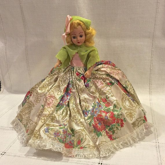Vintage Duchess Doll Corp, Fashion Doll, Hard Plastic 8 inch Sleepy Eye Doll, Jointed Arms, Frozen Legs, Circa 1940s