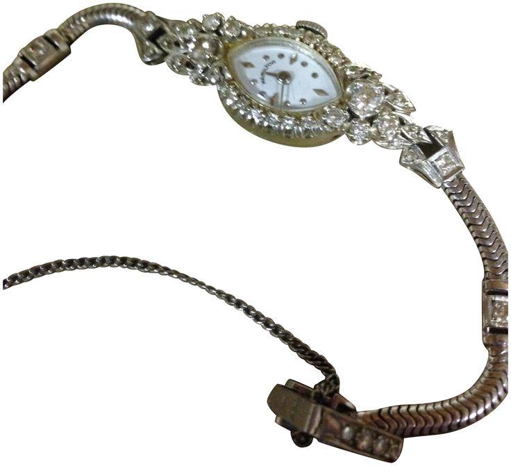 Ladies 14K White Gold and Diamond Wristwatch, Hamilton Watch Company, Lancaster, PA, ca. 1950s, manual wind