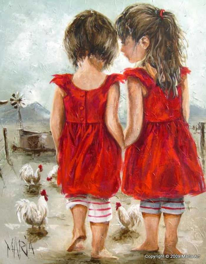 """Two Girls"" by Maria Oosthuizen"