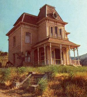 The house from the movie Psycho. It is on the Universal Studios lot near Los Angeles, California. There is no interior- just the outside frame.
