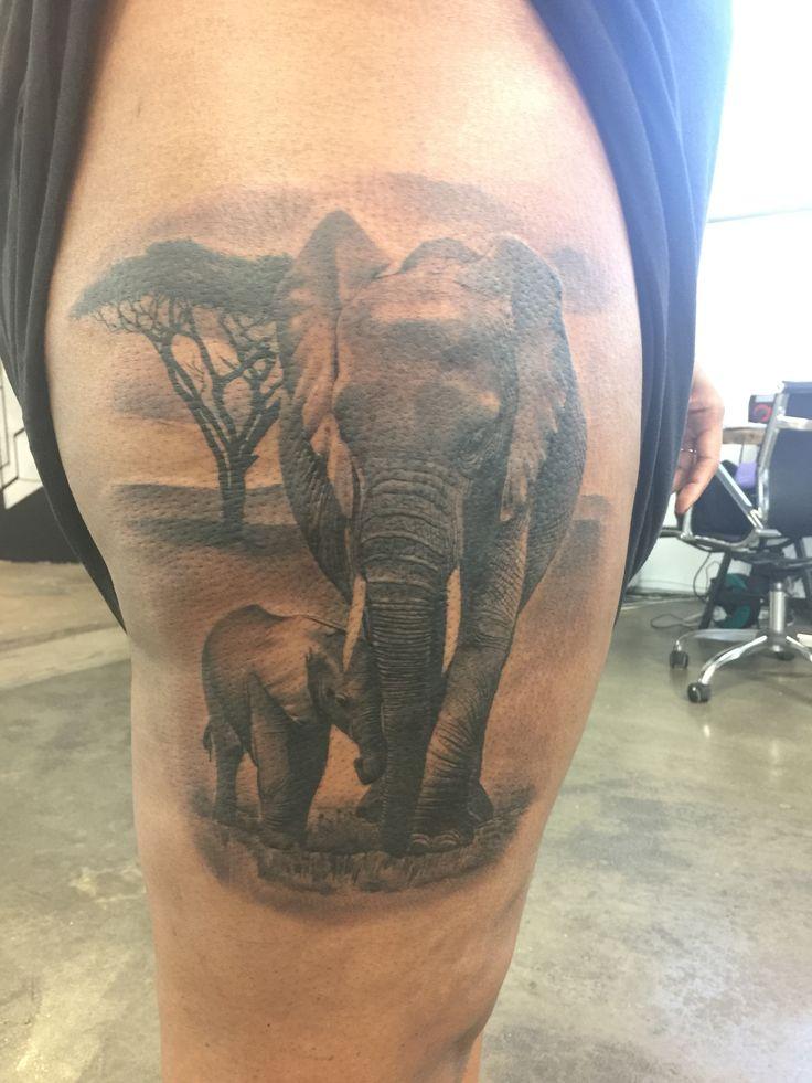 Elephant baby thigh tattoo elephant tattoos quarter