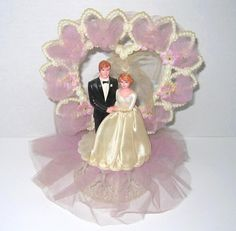Vintage Heart Shaped Wedding Couple Cake Topper With Lavender Tulle