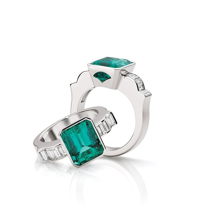 emerald and diamond ring by Fairfax & Roberts