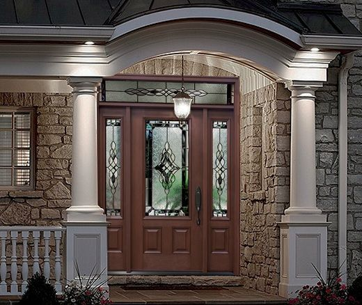 Doors: Black Solid Wood Front Door With Sidelights And Great Brick Wall Design Exterior Also Leteer Box from Ideal Home with the Front Door with Sidelights