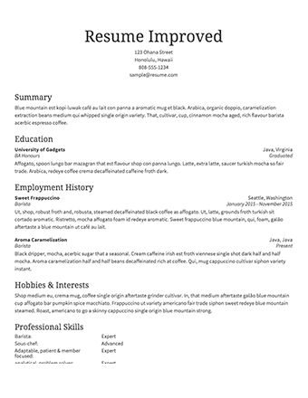 Image result for resume examples