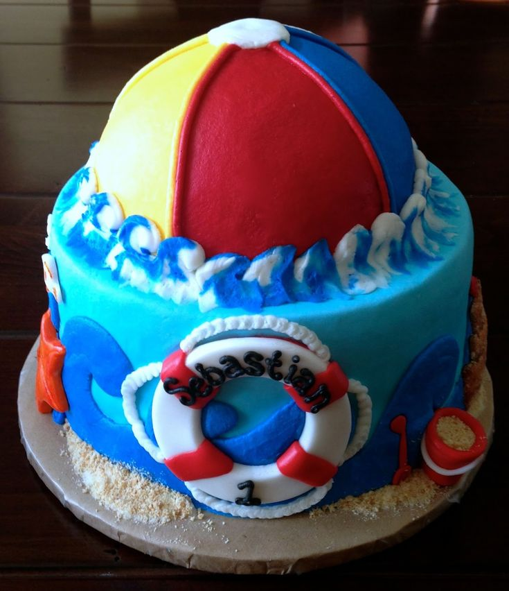 Katycakes Beach Ball Themed 1st Birthday And Smash Cake