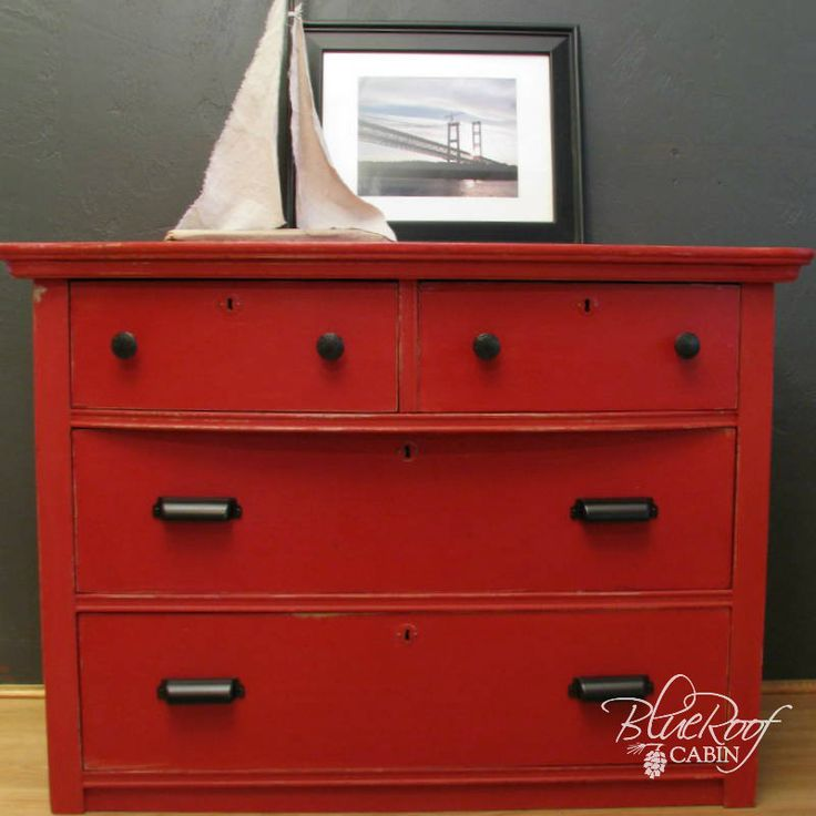 Perfect red for furniture.  blue roof cabin: Tricycle (Red) Milk Painted Dresser