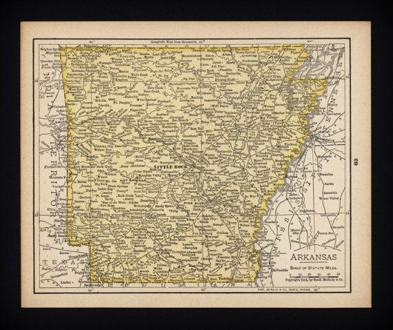 Small Arkansas Map Antique State Decor by ParagonVintagePrints, $10.00