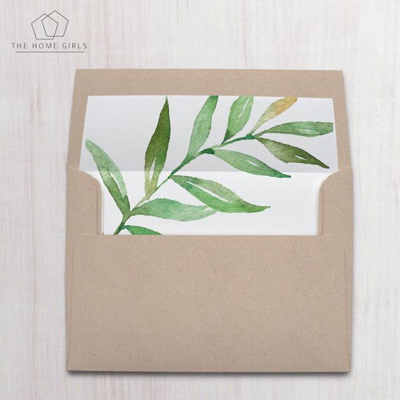 Printable Envelope Liner / Green Leaf by PaperMinxPrintables