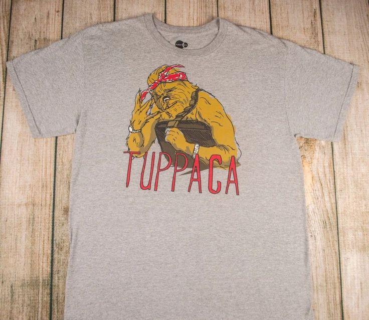 t-shirt TUPPACA Star Wars CHEWBACCA mash-up TUPAC SHAKUR gray sz L adult #PlanetCo #GraphicTee