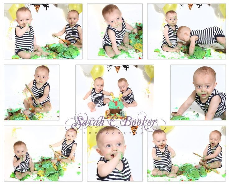 Twin cake smash with white background and jungle theme x