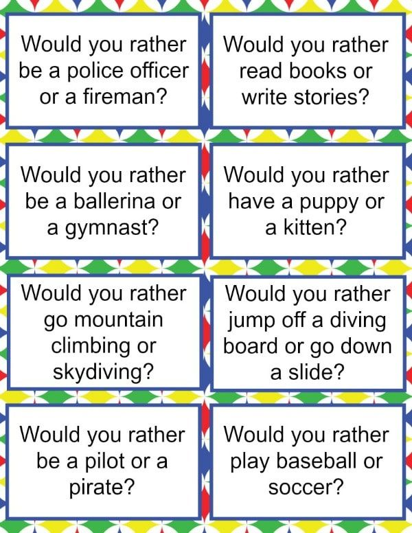 Fabulous image with regard to would you rather questions for kids printable