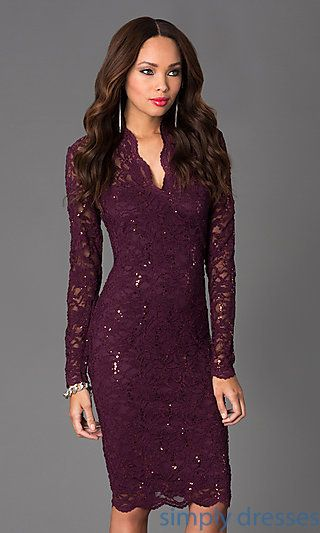 AVAILABLE IN NAVY -- $79 Knee Length Lace V-Neck Long Sleeve Dress at SimplyDresses.com