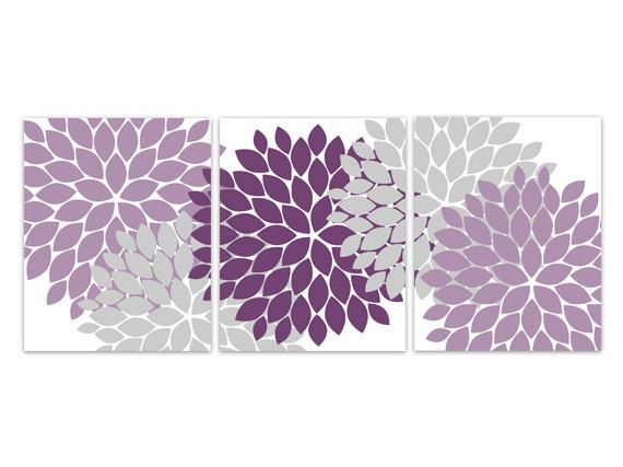 Home Decor Wall Art Purple and Grey Flower by WallArtBoutique