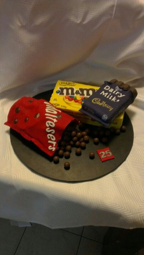 Maltesers m&ms and dairy milk, all made into cakes