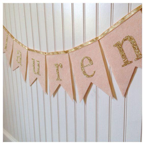 Blush Wool Felt Glittery Gold Name Banner by LittleLoveLane