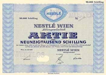 Nestlé Wien AG Aktie 90.000 Schilling Juli 1963 (Muster)