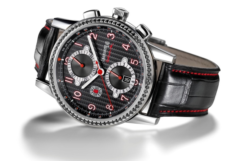 Tazio Nuvolari Data. Ref. 31066.1/BR74  Mechanical automatic winding chronograph, 43 mm steel case, sapphire glass anti-reflective, screw-in crown, bezel with 74 black diamonds, caseback fixed by 8 screws, crocodile strap, steel buckle - 18mm. Optional: deployment clasp Déclic