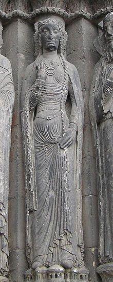 Angers cathedral, France, sculpture at West Portal; c. 1200 CE (c. 1130-1160 per Koslin, Désirée and Janet E. Snyder; Bliaut