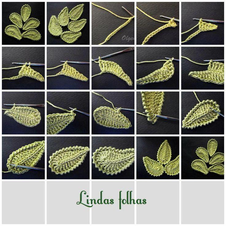 Picture Tutorial Crochet Leaves - Häkeln Blätter