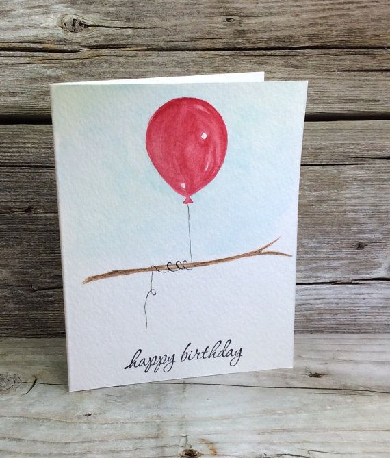 "Watercolor Birthday card; Hand-painted red balloon on a branch; Hand-stamped ""happy birthday"".  Red Balloon watercolor card. Birthday Art."