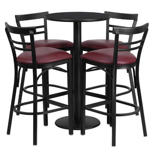 Flash Furniture Round Black Laminate Table Set With 4 Ladder Back Metal Bar  Stools And Burgundy
