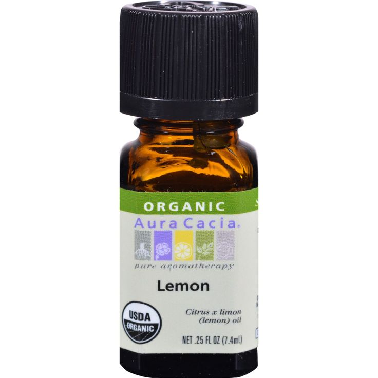 Aura Cacia Organic Essential Oil - Lemon - .25 oz - Single Origin Pure Aromatherapy USDA Organic 100% Pure Essential Oil Certified Organic by QAI  Plant PartFruit Peel Source Italy Benefit Cleansing Aroma Fruity Top Note Tested and Verified for Purity Gas Chromatography/Mass Spectrometry