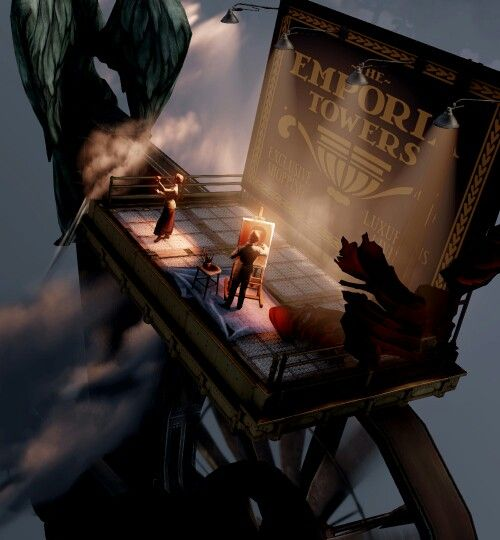 Bioshock Infinite: this is an aerial shot of the Lutece Twins on the platform. Rosalind is posing holding the apple she managed to suspend in mid-air indefinitely - which allowed her to create a floating city. Robert is painting a picture of himself, a subtle hint that he and Rosalind are multiverse doubles.