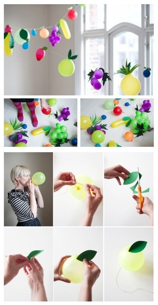 String them into a fruity garland. | 32 Unexpected Things To Do With Balloons