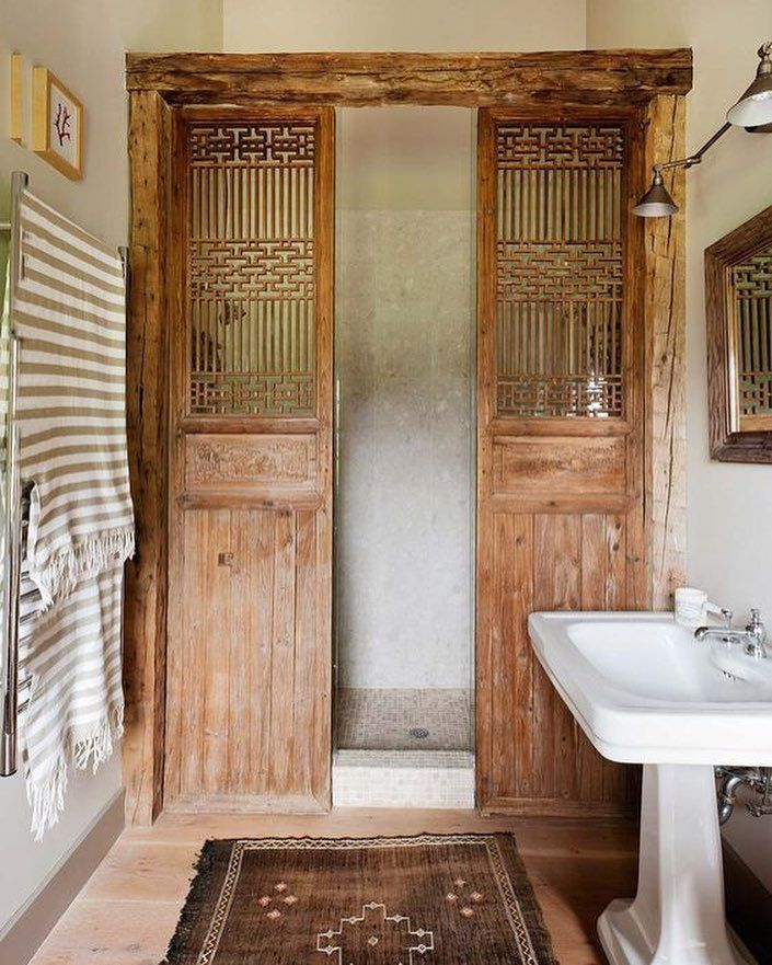 A Wonderful Alternative To Shower Doors A Pair Of Salvaged