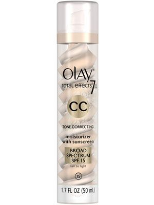 Not only does this cream offer luminous coverage, it fights aging with serious, skincare-level UV protection. Olay CC Cream Total Effects Tone Correcting Moisturizer in Fair/Light, $24, pgestore.com   - Cosmopolitan.com