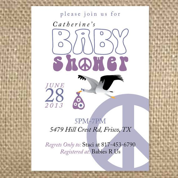 hippie baby shower invitation