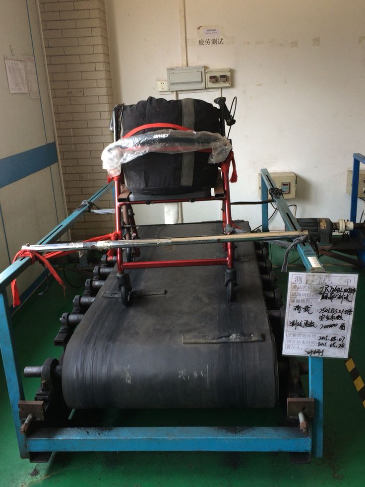 Rollator being tested over uneven ground to test welding joins