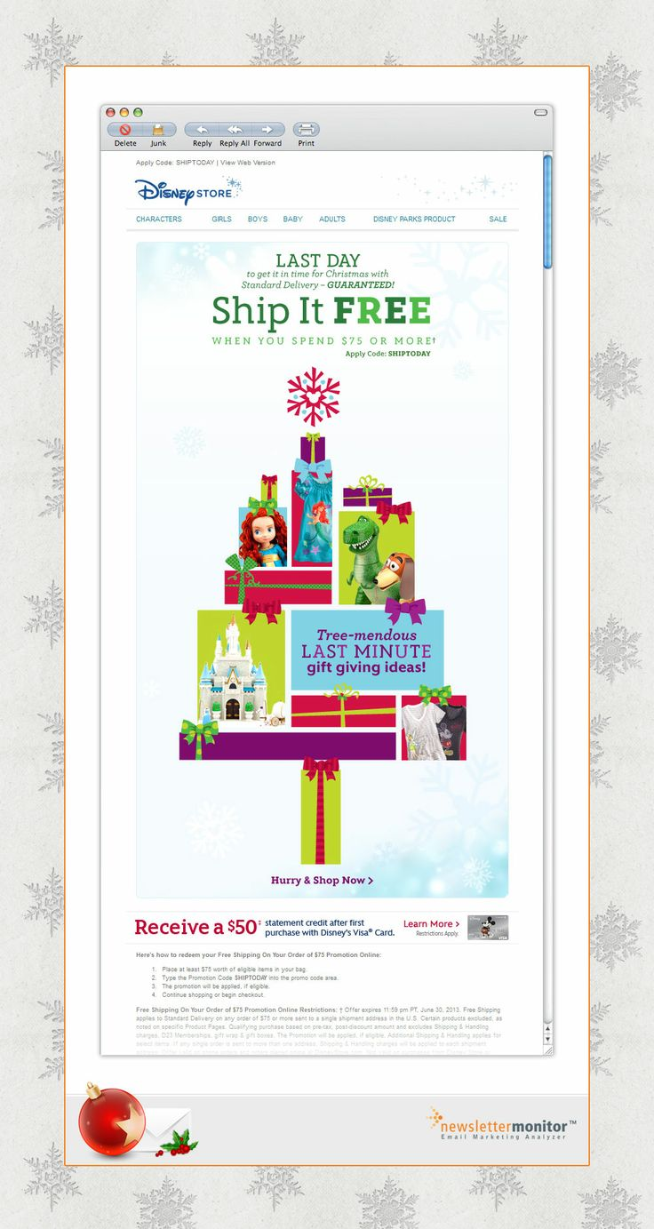 Brand: Disney Store | Subject: Last chance for guaranteed delivery by Christmas! | Sending Date: December 17, 2012