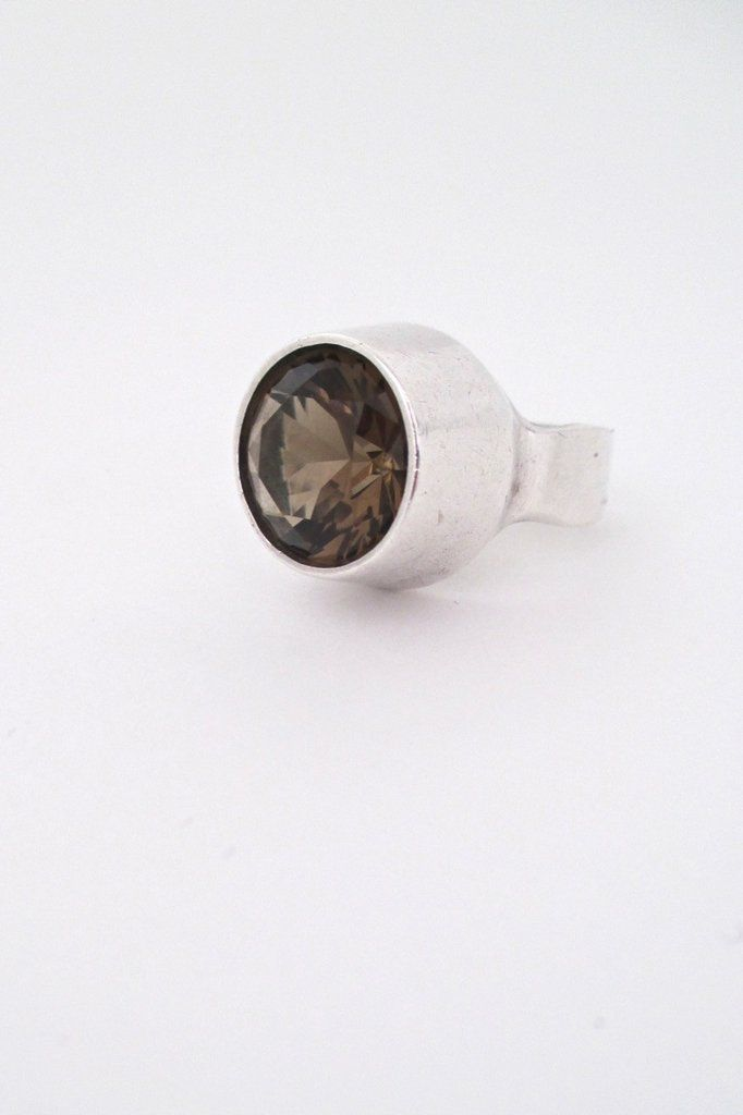 Ibsen & Weeke, Denmark - large vintage silver & smoky quartz ring