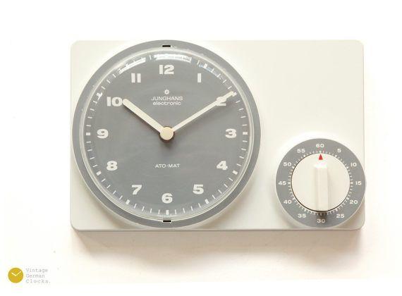 Minimal JUNGHANS Kitchen Wall Clock TIMER - Bauhaus Panton Space Age Modern Pop 70s 1970s Ato-Mat Germany