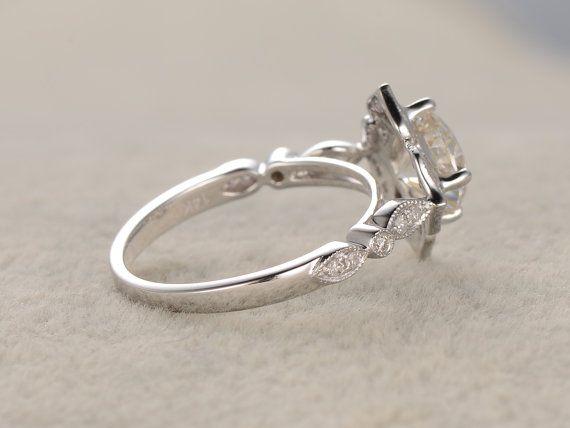 6mm cuscino brillante Moissanite fidanzamento anello 14 di popRing