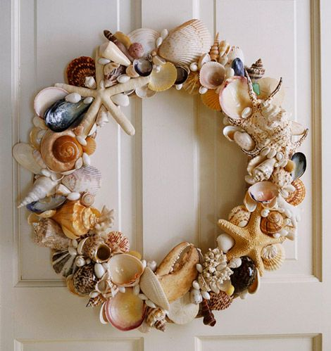 I beachcomb while Lowell surfs. I have so many shells in apothecary jars, but I will be doing this and hanging it on our front door.