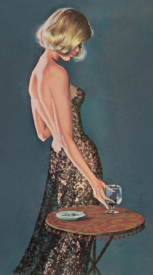 "The Black Lace Hangover  Robert McGinnis...... i'd like to see this ""black lace"".  i wonder if i know someone who has this, hmm ?"