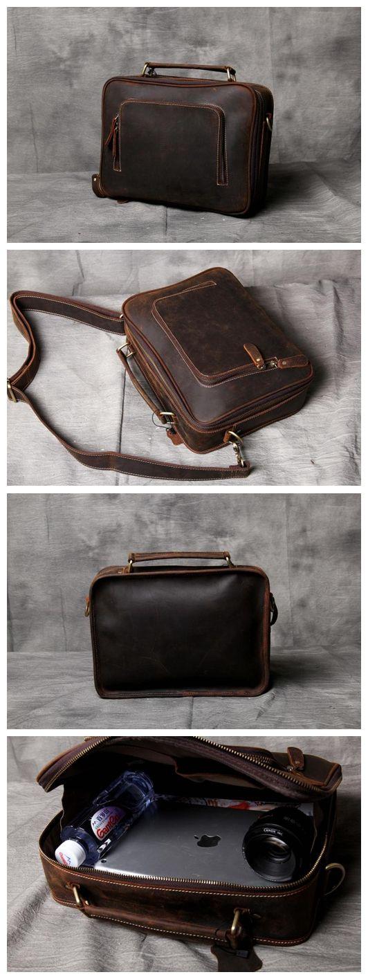 Handcrafted Dark Brown Leather Messenger Bag Handbag iPad Bag Small Satchel 14089