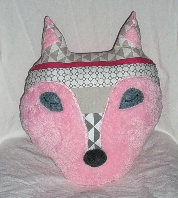 COUSSIN renard endormi pour enfant, coussin doudou renard en coton : Textiles et tapis par paquita-14400