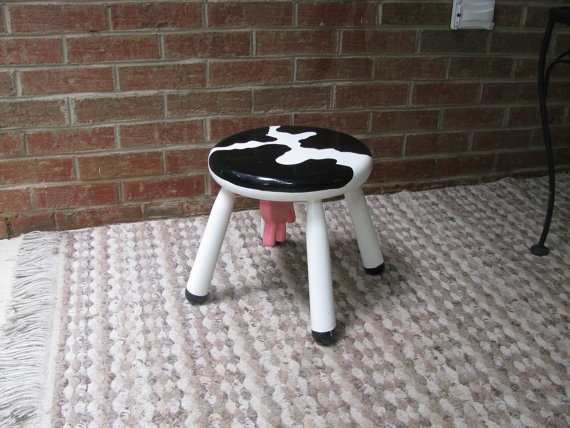 Vermont Sled Co Four Legged Cow Stool Complete With Pink