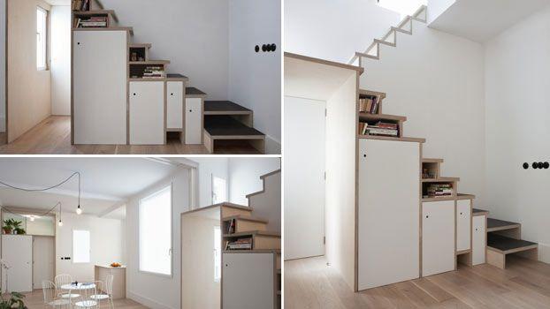 Scala in legno moderna che diventa un armadietto