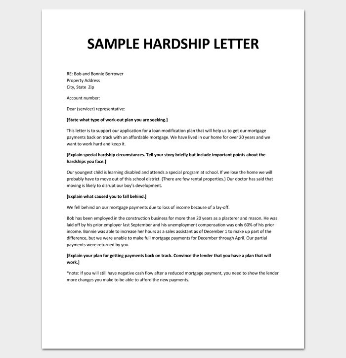 Free Sample Hardship Letter To Creditors